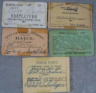 Lot of 5 1930's Kennel Club Sheriff Mayer Card Robert Cowles Steubenville