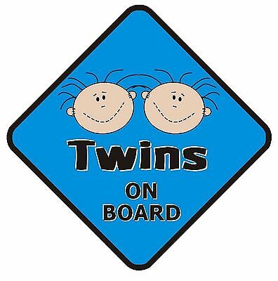 Twins On Board Non Personalised Car Sign Baby Blue Brothers Child Kids Safety
