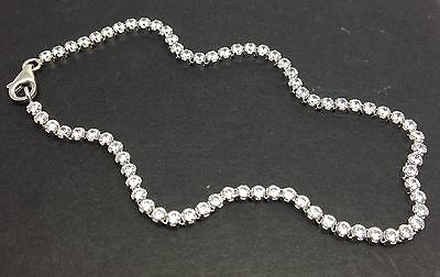Solid Sterling Silver Tennis bracelet Cubic Zirconia, Thin, Claw Set, New, UK.