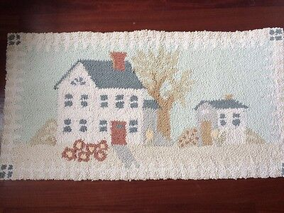 "Hand Hooked Rug Carpet Country Coastal Beach Scene 100% Wool Rug 22""x 42"" NICE"