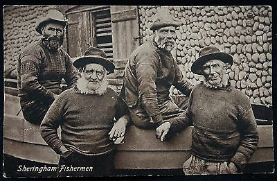 Old Postcard - Sheringham Fishermen, Norfolk - 1916