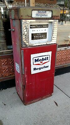 Mobil Regular.  Wayne 505 gas pump  with Original Signs.