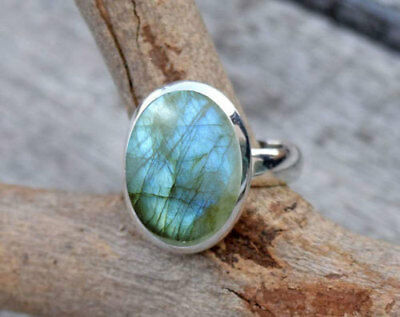 925 Sterling Silver Blue Fire Labradorite Ring Stone Gemstone Ring All Size
