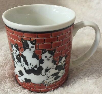 Takahashi City Cat Mug Cup Black White Kittens Red Bricks