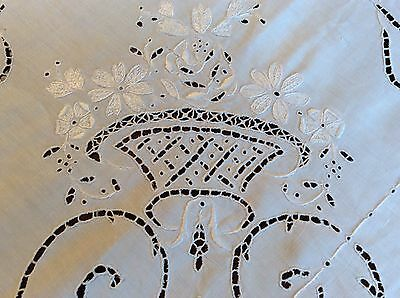 """White Linen Tablecloth w/Filet Lace Inserts & Filet Lace Edging 103"""" by 67 1/2"""""""