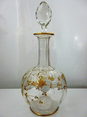 Webb Glass Decanter And Stopper Gold Decoration