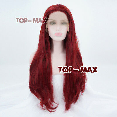 18/20/22/24 Inches Red Lady Long Wavy Fashion Lace Front Wig Heat Resistant
