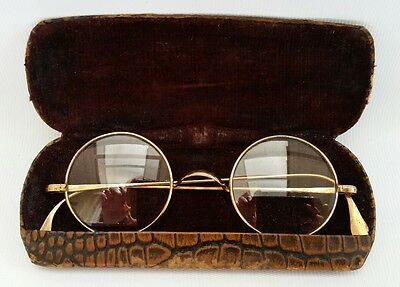 Vintage Art Deco Round Gold Spectacles Reading Glasses Crocodile Case Steampunk