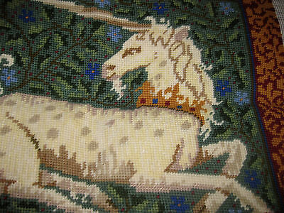 EHRMAN CANDACE BAHOUTH Completed UNICORN tapestry cushion front 1995