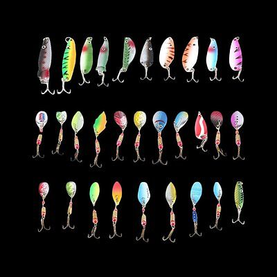 New OSt 30pcs Fishing Lures Spinner Baits Crankbait Assorted Fish Tackle Hook BR