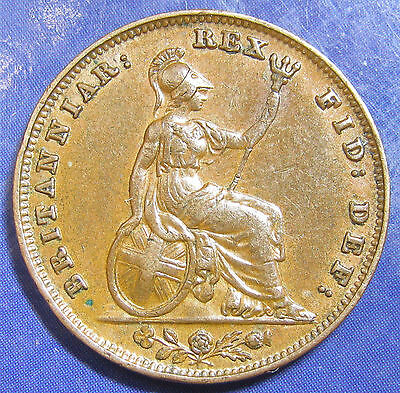 1835 ¼d William IV copper Farthing - Rev B, and a nice strong grade