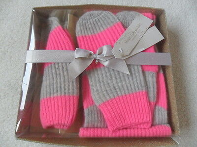 M&s Boxed Pink Mix Striped Knitted Hat Scarf & Mitten Set + Cashmere Age 10-14