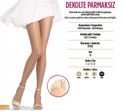 2x Pairs Turkish/European Women Pantyhose Tights Stockings Open Toe/Peep Toe