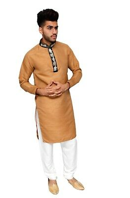 Gold Mens Kurta for 2017 Indian Raw Silk Wedding Bollywood Party Suit & Trousers