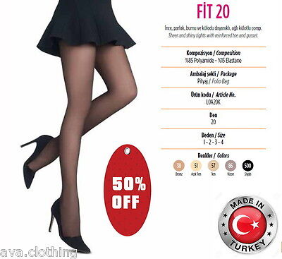 2x Pairs Quality Turkish/ Women Sheer Pantyhose Tights Stockings (Fit 20 Denier)