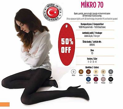 3x Pairs Turkish/ Women Opaque Pantyhose Tights Stockings Shiny (Micro 70 Denier