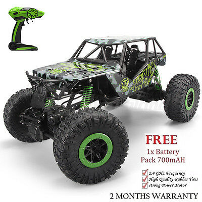 2.4G RC Car 1/10 Remote Control 4WD Off Road Large Rock Crawler Green 2xBattery