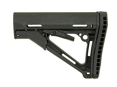 AIRSOFT AEG Compact Carbine Stock w/ Enhanced Rubber Butt-Pad BLACK