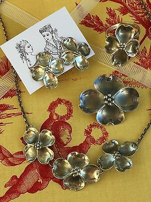 Vintage Stuart Nye Sterling Silver Necklace, Pin, Earrings And Ring