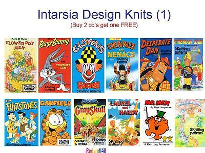TV CHARACTER INTARSIA KNITTING PATTERNS ON CD Buy2 Get 3rd FREE (D1)