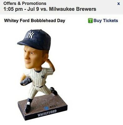Whitey Ford New York NY Yankees SGA Bobblehead 7/9/17 BRAND NEW July 2017