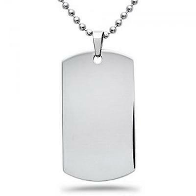 Ball Bead Chain Necklace Pendant Dog Tag Steel Stainless Military Army