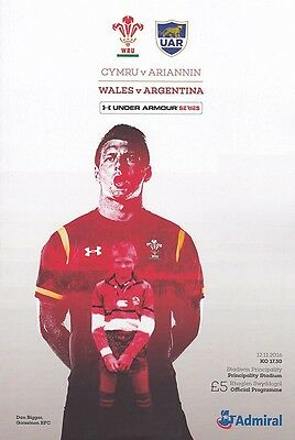 * WALES v ARGENTINA - INTERNATIONAL RUGBY PROGRAMME (12th November 2016) *