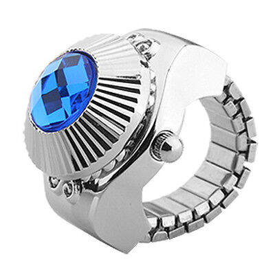 Blue Rhinestone Style Women's Fashion Finger Ring Watch D2O8
