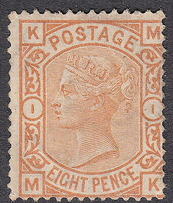 Victorian QV GB SG156 8d Orange Plate 1 surface printed Unused (no gum)