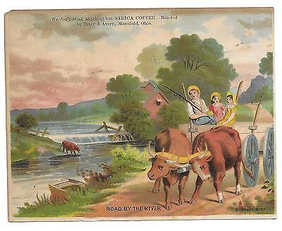 """Mansfield, Oh Sarica Coffee  Victorian Large Trade Card """"road By The River"""""""