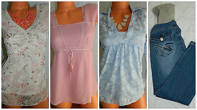 LOT (4) MATERNITY Tops TUNICS JEANS Small MOTHERHOOD Chic OUTFITS Career