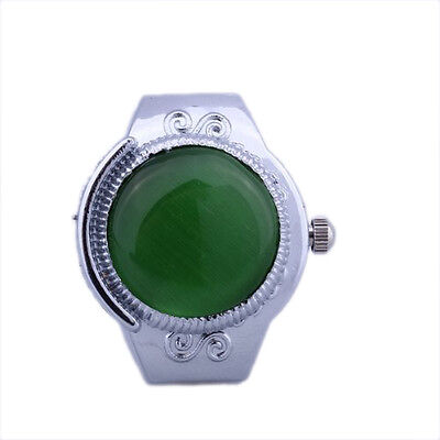Women Alloy Quartz Green Cats Eye Round Dial Pocket Finger Ring Watch H1I3