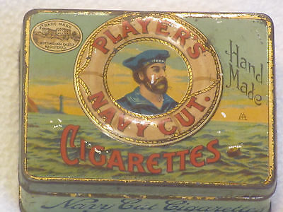 RARE collectable 'Hand Made' Players Navy Cut cigarette TIN tobacciana antique