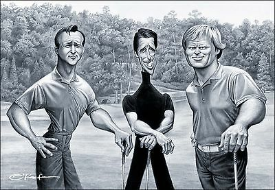 """Big 3. A Tribute to Palmer, Player & Nicklaus Giclee Fine Art Print 22"""" by 28"""""""