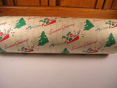 Vintage Christmas Wrapping Paper Dept Store Roll Tree., Sleigh, Reindeer +