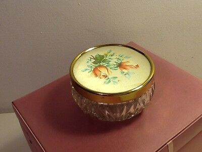 Vintage Glass Make-up/ Powder puff dish with floral lid