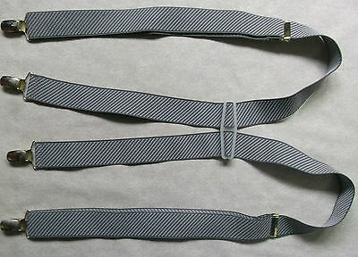 VINTAGE CLIP ON BRACES WIDE 1970s 1980s ONE SIZE MENS GREY STRIPED STRIPES RETRO