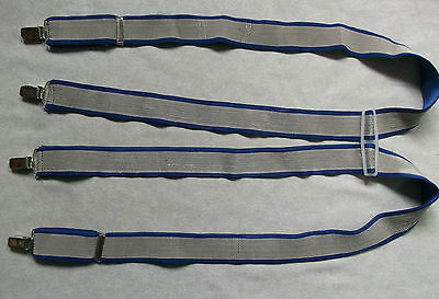 VINTAGE WIDE CLIP ON BRACES 1980s ONE SIZE MENS CITY STOCKBROKER BLUE SILVER