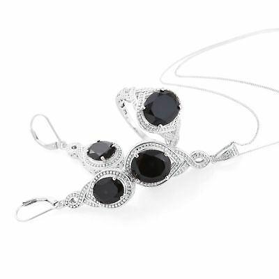 17.45 ct Black Spinel Platinum Over Silver Earrings Ring Sz 8 Pendant With Chain