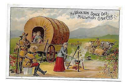 Victorian Trade Card Lion Coffee Covered Wagon & Family