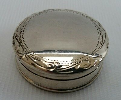 Vintage Solid Sterling Silver 925 Round Lidded Pill Trinket Box Sheffield Import