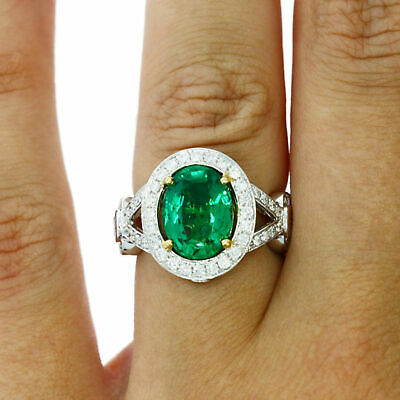 4.59 Carat Natural Green Emerald Diamonds Solid 18k Yellow Gold Engagement Ring