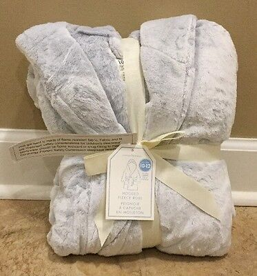 NEW Pottery Barn Kids Fleece Robe SLATE BLUE Size 10-12 XL