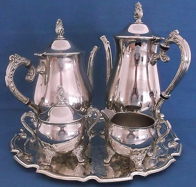 Vintage Silver Plated Tea And Coffee Serving Set On Scalloped Tray