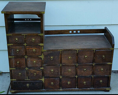 Antique Chinese Apothecary Herb Cabinet Multi Drawers Wood Medicine Asian