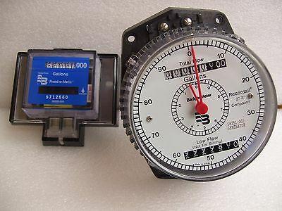 "Meter Recordall 2""-3"" Compound Register Gallons Low Flow Badger Water New"