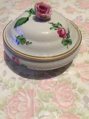 Gorgeous Herend Hungary Handpainted Trinket Sugar Bowl Rose Flower