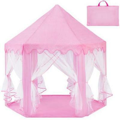 Pink Play Tent Princess Castle Indoor Outdoor Folding Deluxe Pop Up Hexagon New