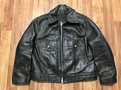 Mens Vtg 70s Police Motorcycle Front Quarter Horsehide Leather Lined Jacket L/XL