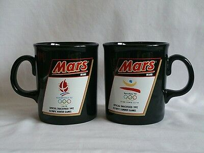 Vintage Pair Of Official Black 1992 Mars Olympic Summer Games Mugs Cups